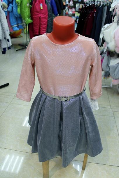 Детское нарядное платье «Розовый металлик»