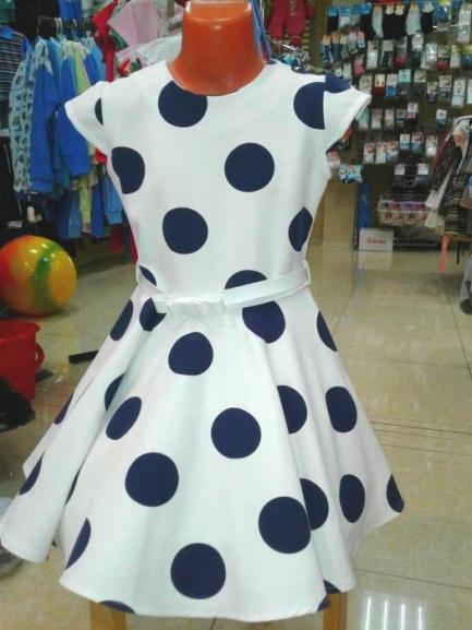 Детское нарядное платье «Синий горошек»