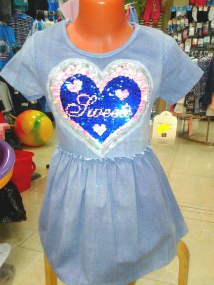 Платье джинсовое для девочки «Сердечко»