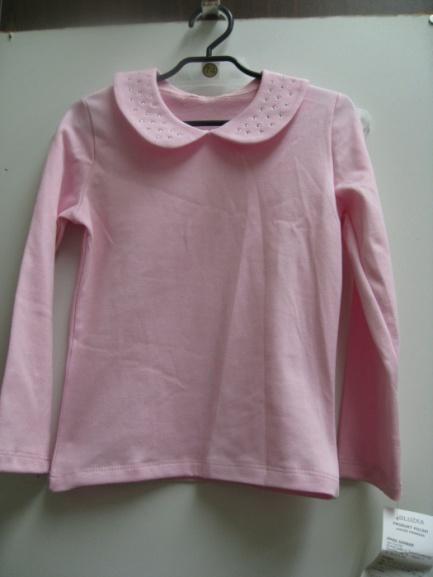 Блузка детская розовая своротником