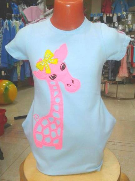 Платье-туникадля девочки «Розовый жираф»