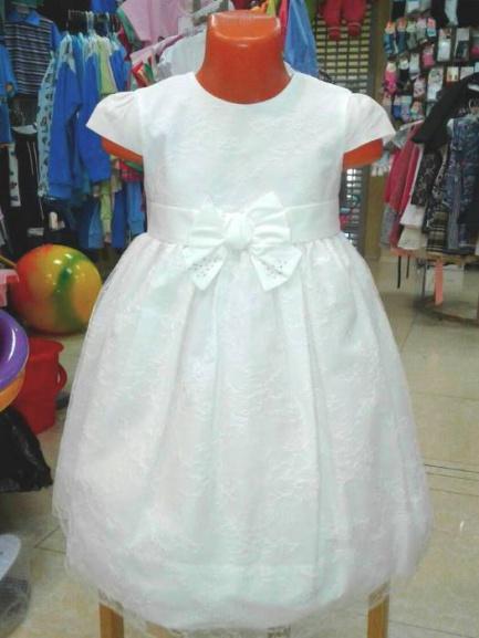 Нарядное платье для девочки «Белый бантик»