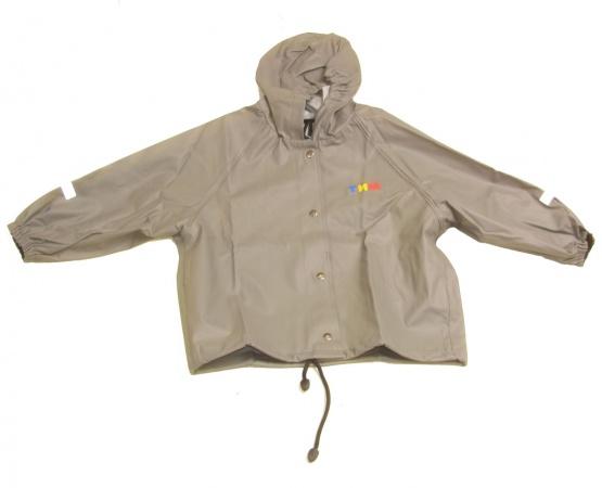 Непромокаемая детская куртка скапюшоном серая