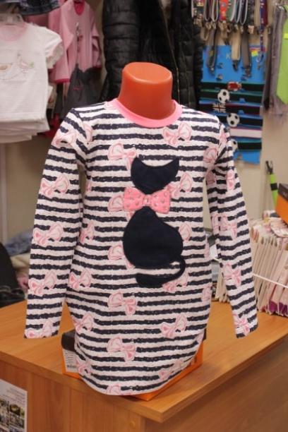 Детское платье-туника«Розовая полоска»
