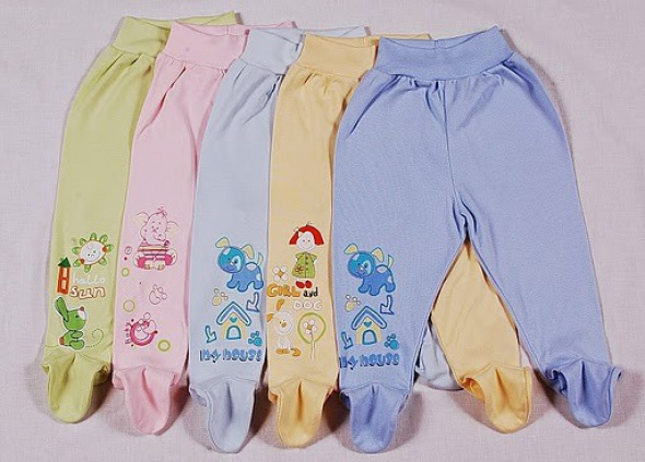 Ползунки для новорожденных нарезинке