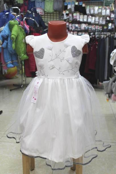Нарядное детское платье «Белое сердце»