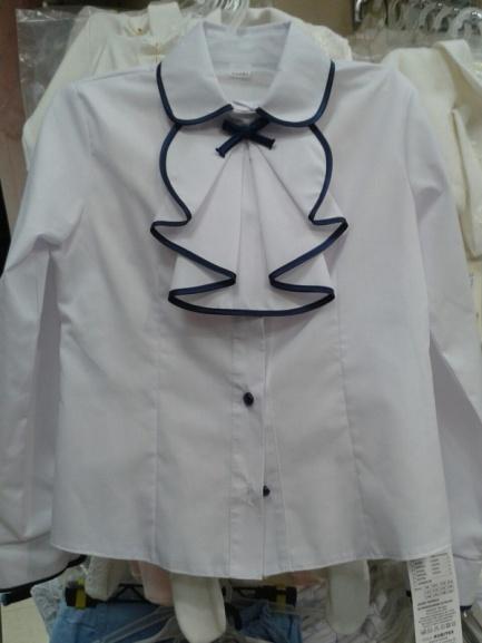 Блузка ссиней отделкой для девочки вшколу