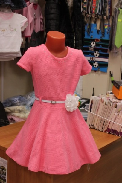 Нарядное детскоеплатье, розовое сцветком