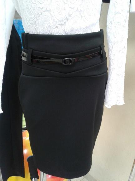 Черная школьная юбка «Карандаш», сремнем