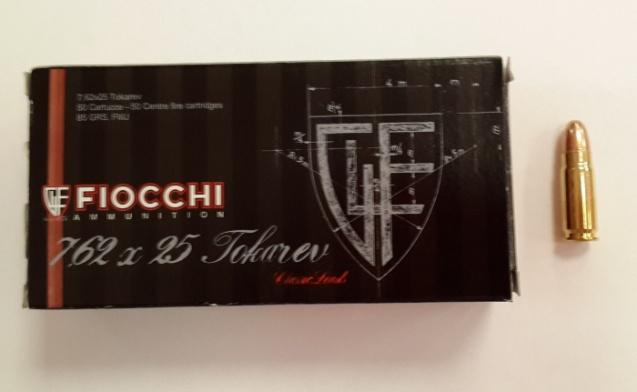 Патрон Fiocchi кал. 7,62х25 Tokarev FMG 85 gr.