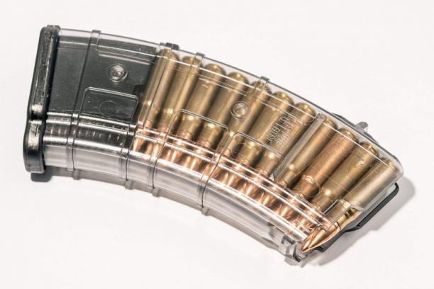 Маг-н Pufgun наВПО-133/АКМ/Сайга МК/М (без сухаря) 7,62×39 20п прозр.