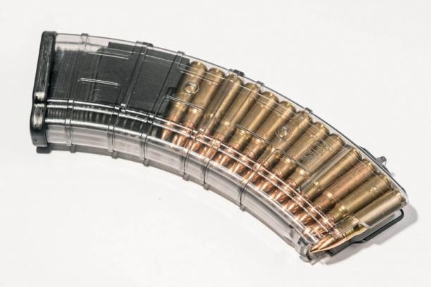 Маг-н Pufgun наВПО-133/АКМ/Сайга МК/М (без сухаря) 7,62×39 30п прозр.