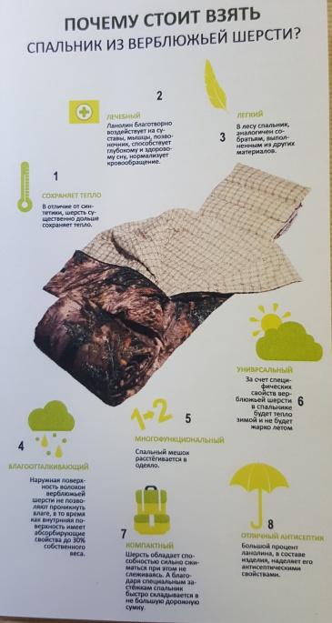 Спальный мешок двуспальный 100% верблюжья шерсть