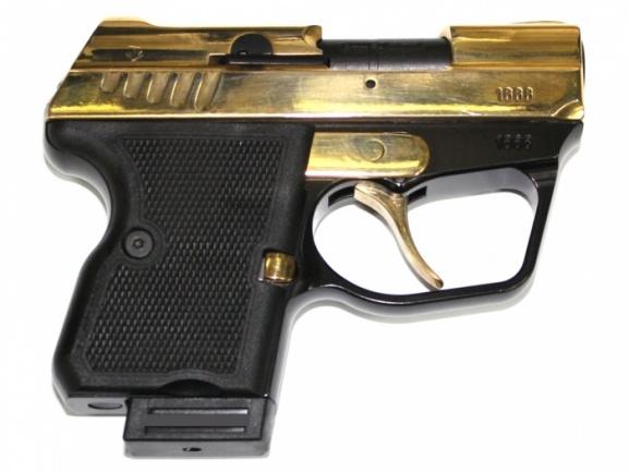 Пистолет WASP Grom к.9мм Р.А золот. покрытие