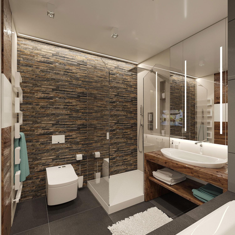 Дизайн интерьера спальни с имитацией камня