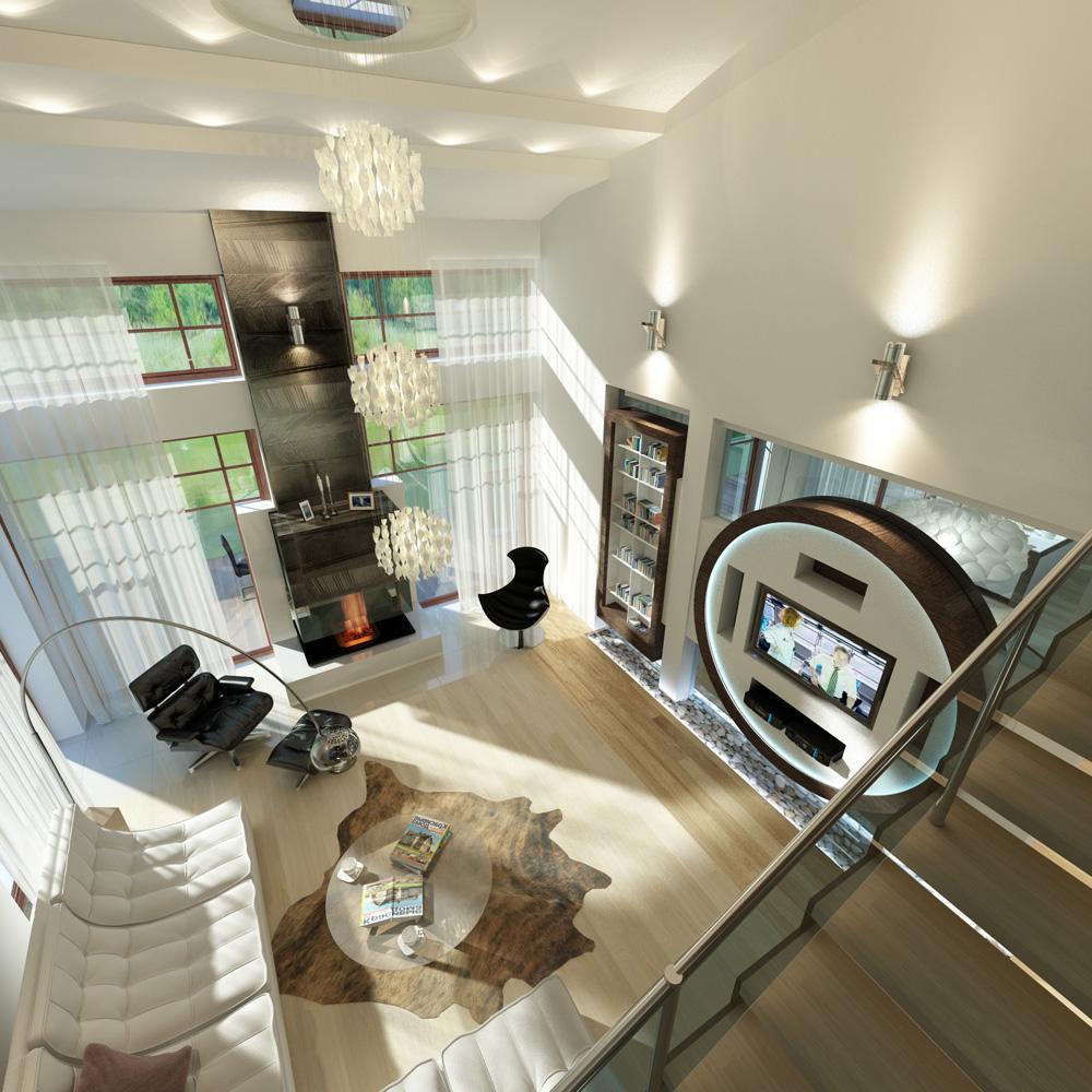 Дизайн интерьера гостиной зоны на первом этаже загородного дома