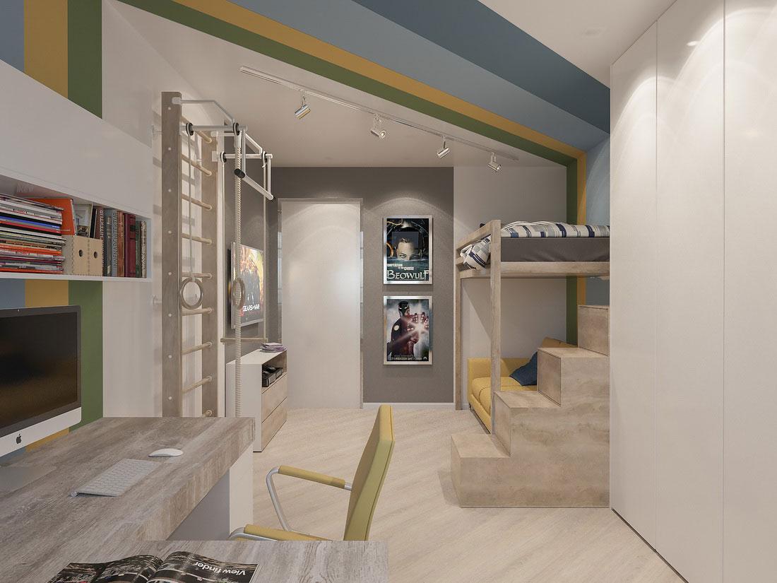 Дизайн интерьера комнаты подростка в светлых тонах