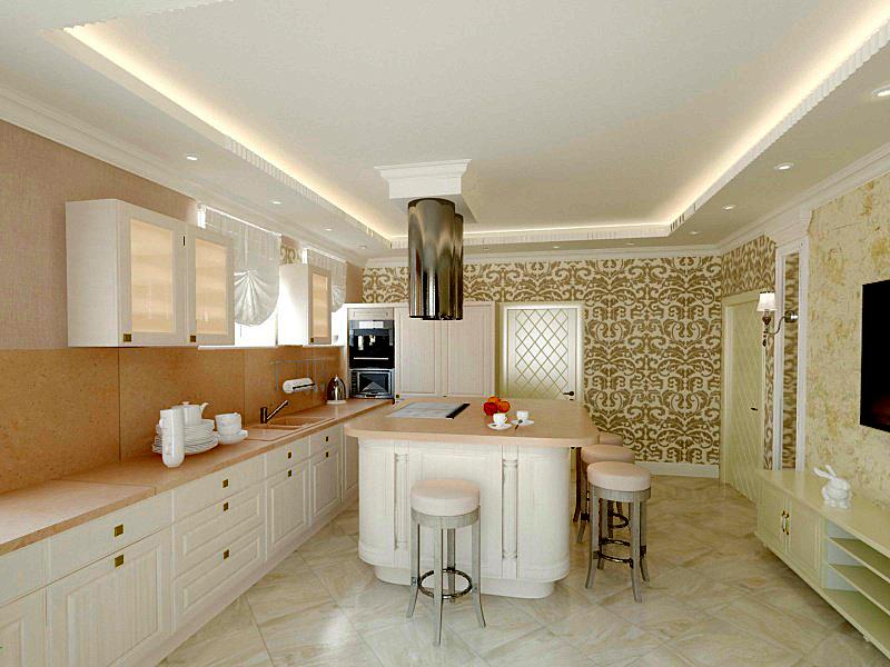 Дизайн интерьера кухни загородного дома в современном стиле