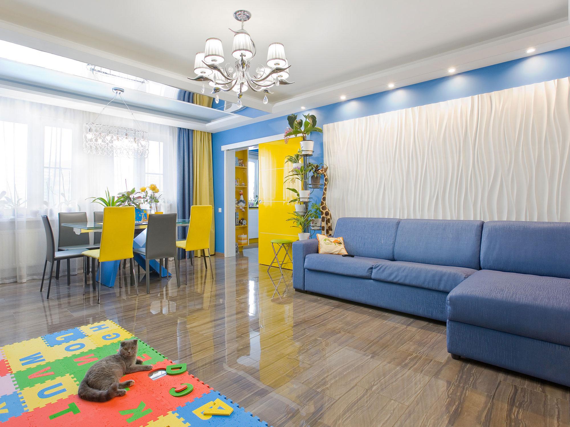 Дизайн интерьера кухни с островом в квартире в современном стиле