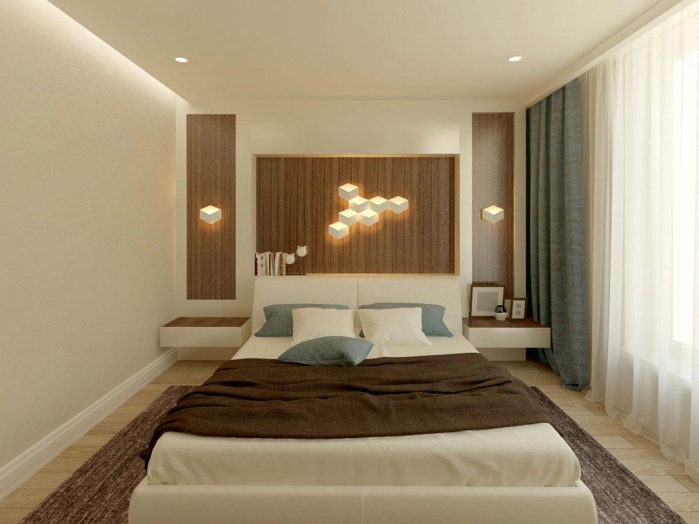 Дизайн интерьера спальни в квартире высотного дома в пастельных тонах