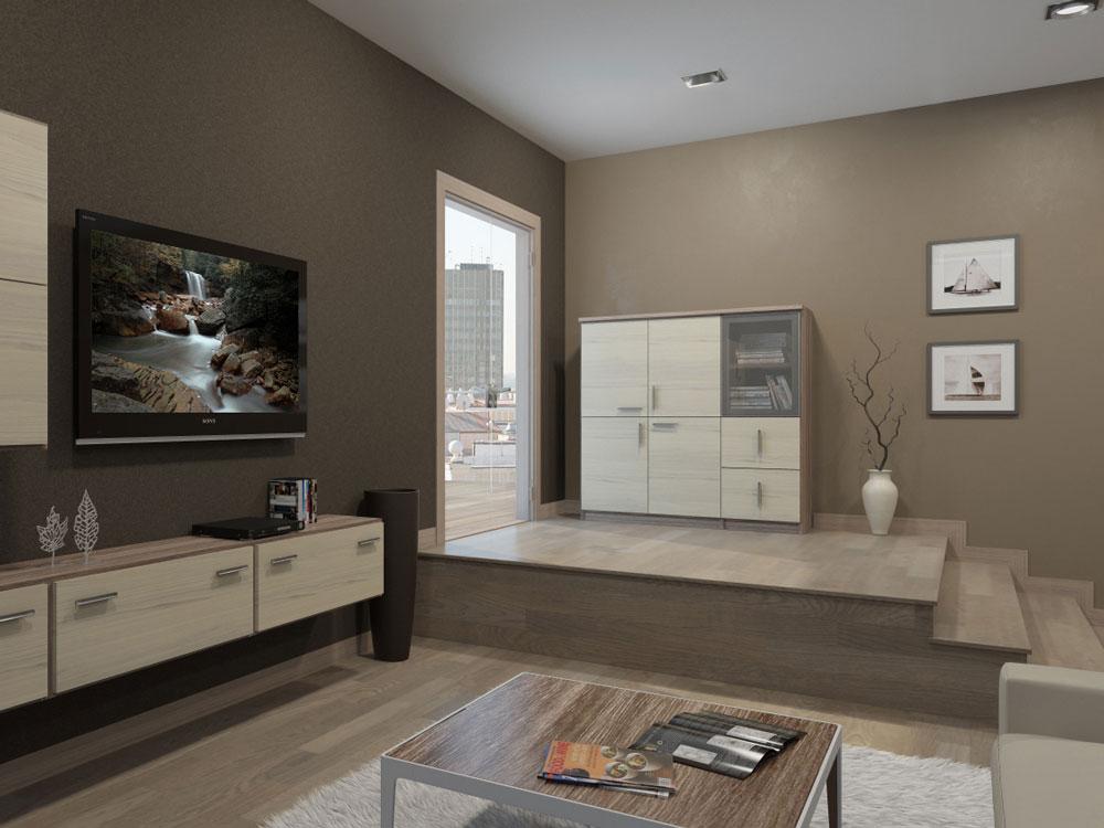 Дизайн интерьера гостиной в квартире с выходом на крышу