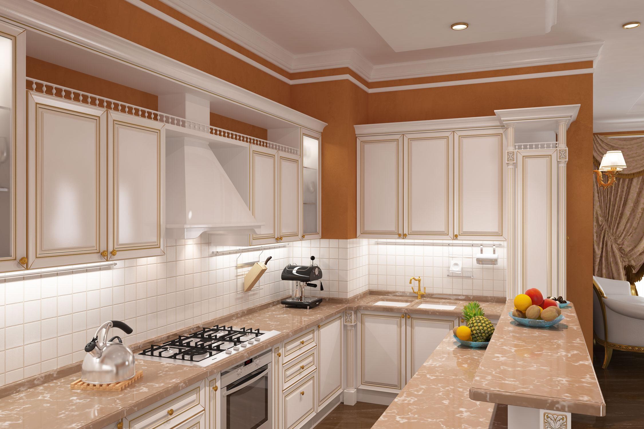 Эскиз кухни в стиле современная классика. Ракурс - от острова.