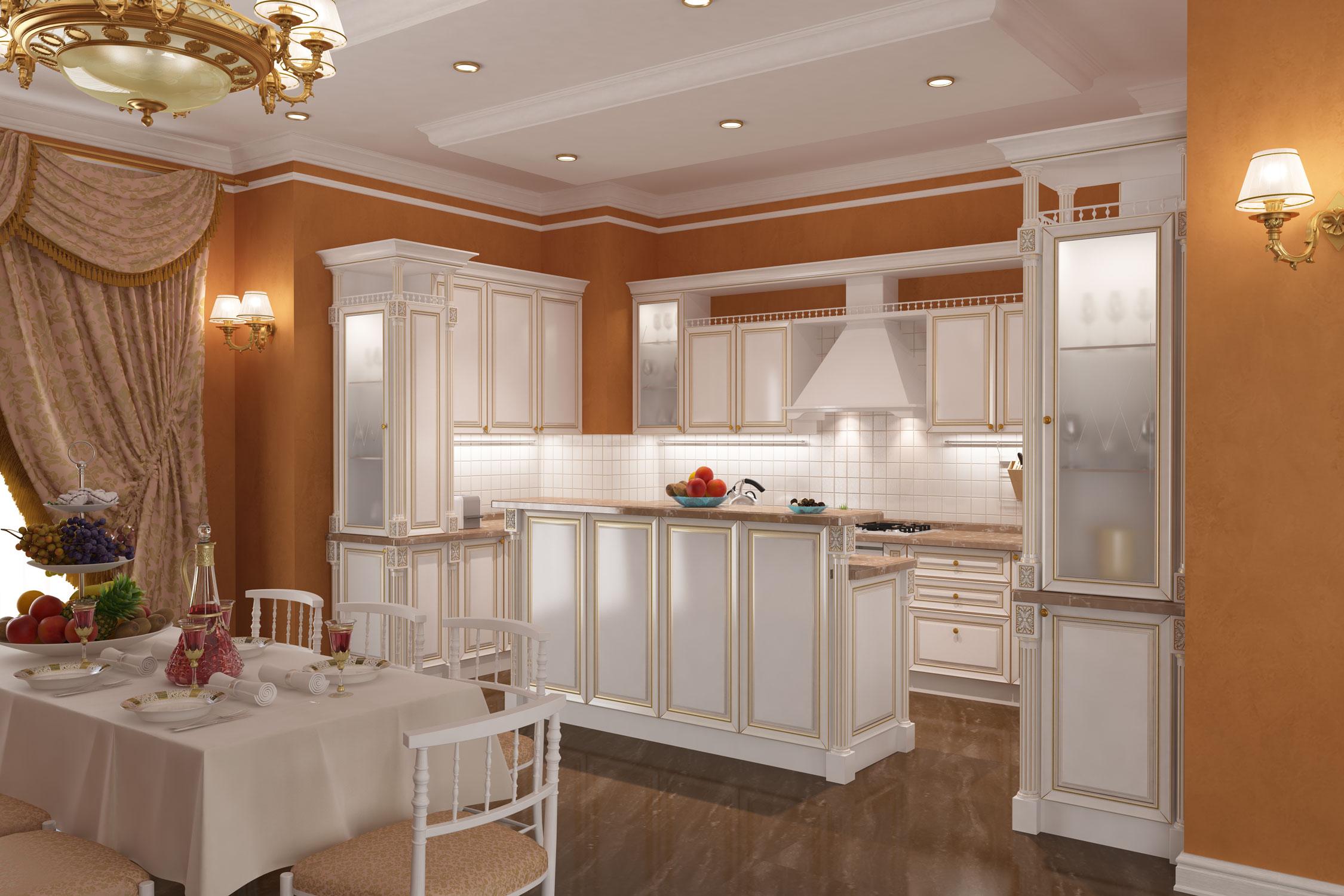 Эскиз кухни в стиле современная классика. Общий ракурс.