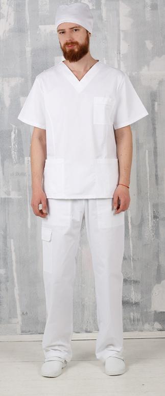 Медицинский костюм мужской арт. Доктор (цвет: белый)