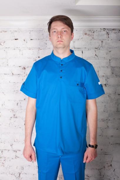 Мужская медицинская блуза арт. 7140 (василек)