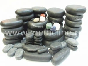 Набор для стоун-массажа (Waxed stone 64 pcs set).