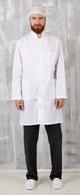 Медицинский халат мужской арт. Медик (воротник стойка)
