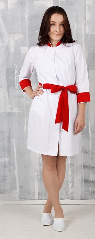 Медицинский халат, арт: Анна (Багар) отделка красная