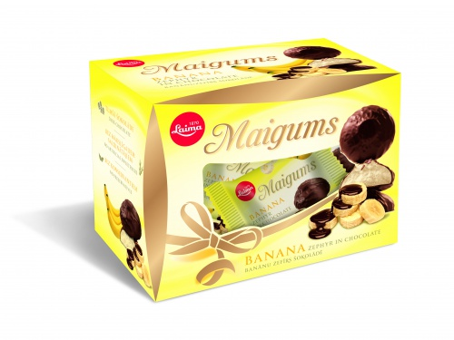 «Maigums» Зефир вшоколаде совкусом банана 185г (подарочная коробочка)