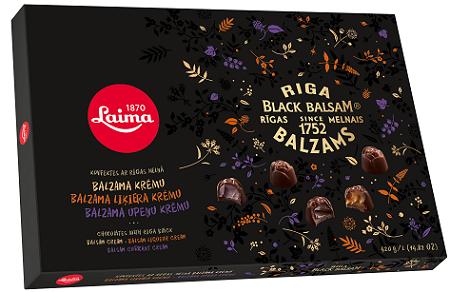 Конфеты втемном шоколаде стремя видами начинки изРижского бальзама 420г