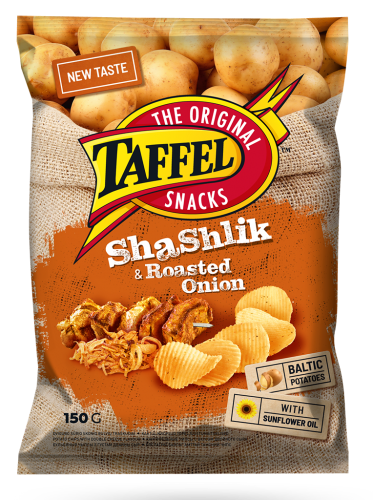 Картофельные чипсы Taffel совкусом шашлыка ижареного лука 150г
