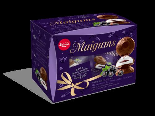 «Maigums» Зефир вшоколаде сначинкой изРижского Черного смородинового бальзама 185г (подарочная коробочка)