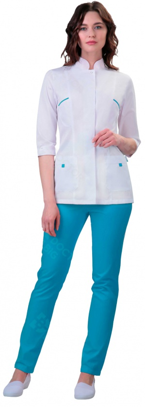 Медицинский костюм женский арт.420 (белый/бирюзовй)