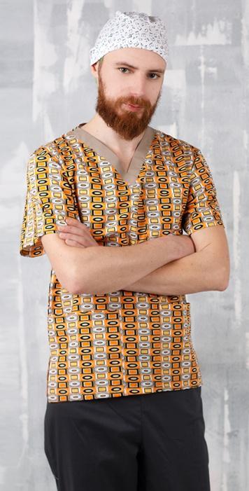 Медицинская мужская блуза арт. Геометрия