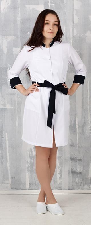 Медицинский халат, арт: Анна (Багар) отделка черная