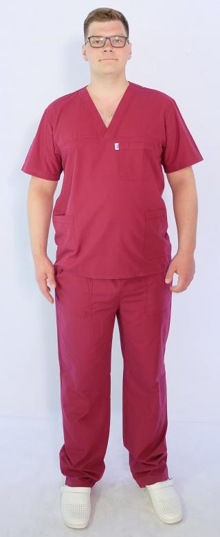 Мужской хирургический костюм Арс-Файн (Батист/бордовый)