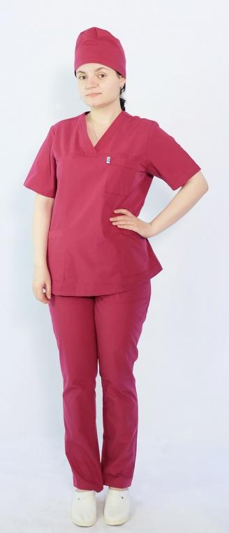 Костюм женский хирургический Арс-Файн (бордовый)