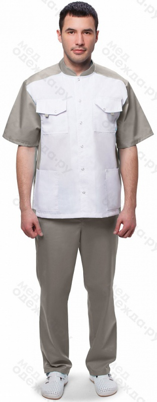 Медицинский костюм мужскойарт.703 (белый/серый)