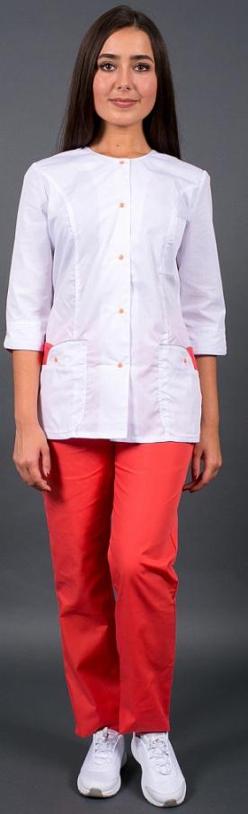 Медицинский костюм женский арт.Лотос (белый/коралловый)