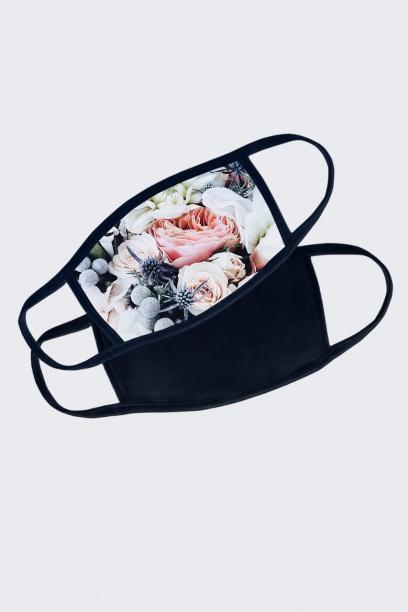 Набор масок черная+черная сцветочным принтом