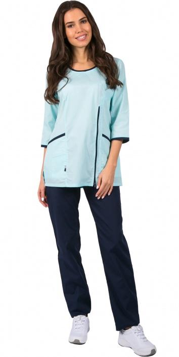 Медицинский костюм женский арт.Вояж (бирюзовый/синий)