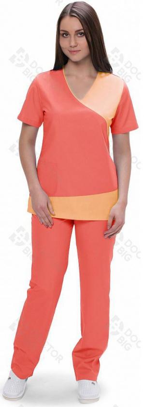 Медицинский костюм женский арт.420(персиковый/розовый)