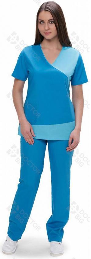 Медицинский костюм женский арт.420 (бирюзовый/голубой)